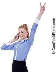 executiva, com, telefone, e, vitória, gesto