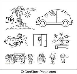 executiva, conceitos, vetorial, ilustrações, -, jogo, vário