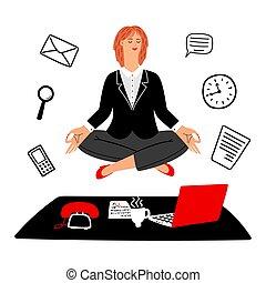 executiva, concept., trabalho, vetorial, lugar, pacata, mantém, meditação