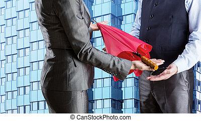 executiva, dá, guarda-chuva, homem negócios