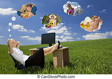 executiva, dia sonhando, em, campo verde, escritório
