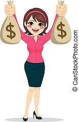 executiva, dinheiro, segurando, sacolas