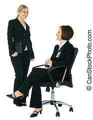 executiva, discutir, dois, femininas