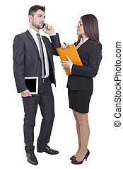 executiva, e, homem negócios, reunião