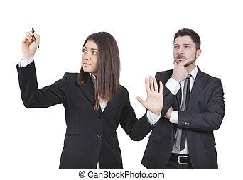 executiva, e, homem negócios, trabalho, junto