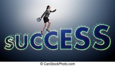 executiva, em, sucesso, conceito negócio