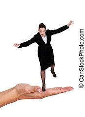executiva, equilibrar, ligado, gigante, mão