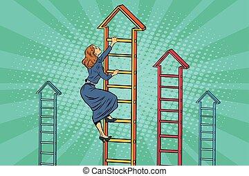 executiva, escada, cima, negócio, escalando