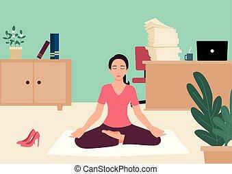 executiva, escritório, ioga