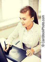 executiva, escritório, tabuleta, desenho