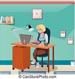 executiva, escrivaninha, computador, trabalhando, sentando