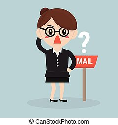 executiva, esperando, correio
