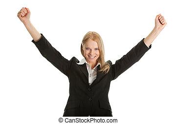 executiva, excitado, sucesso, celebrando