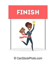executiva, executando, finish.