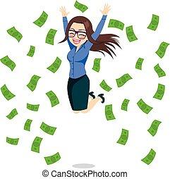 executiva, feliz, pular, dinheiro