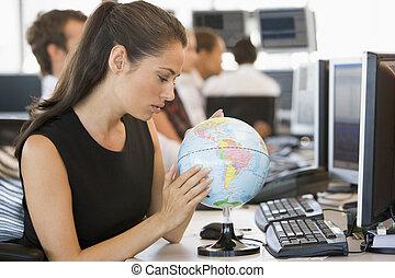 executiva, globo, escrivaninha, espaço escritório