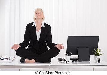 executiva, ioga, escritório