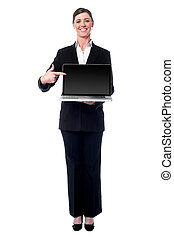 executiva, laptop, apresentando, novo