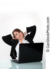 executiva, laptop, relaxante