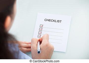 executiva, marcação, lista de verificação