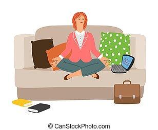 executiva, meditação, descansar