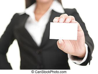 executiva, mostrando, cartão negócio