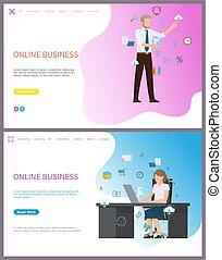 executiva, online, negócio, escritório, sentando