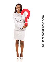 executiva, pergunta, jovem, marca, americano, segurando, africano