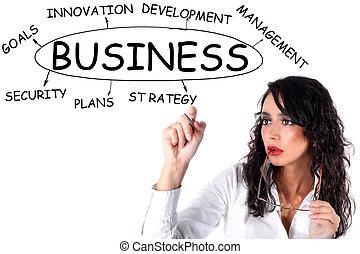 executiva, plano, negócio, desenho