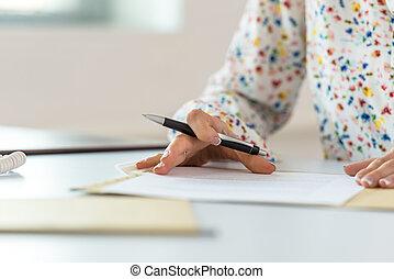 executiva, revisão, contrato