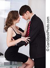 executiva, seduzir, escritório, saliência