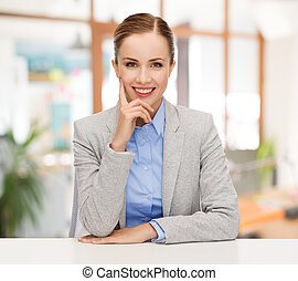 executiva, sorrindo, sentando, tabela