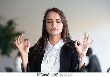 executiva, tensão, respirar, deeply, reduz, meditar,...