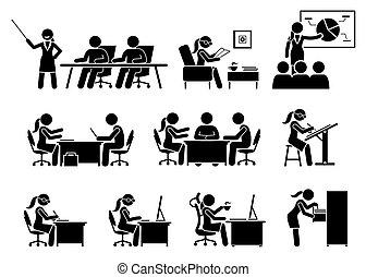 executiva, trabalhando, escritório.
