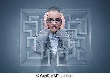 executiva, triste, perdido, labirinto