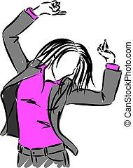 executiva, vetorial, ilustração, dançar