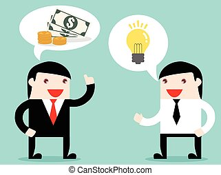 Executive and businessman exchange idea to make money