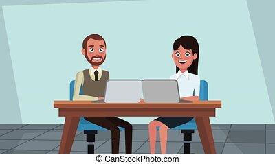Executive business teamwork HD animation