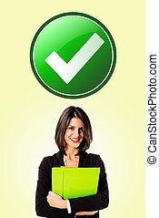 executive business woman check