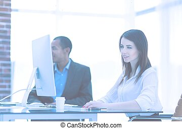 Executive business woman in office on the background of business