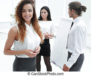 business woman on the background of colleagues