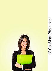 executive business woman on yellow