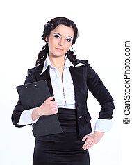 Executive business woman with clipboard. isolated on white