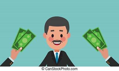 Executive businessman cartoon HD animation - Hands giving...