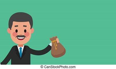 Executive businessman cartoon HD animation - Old businessman...