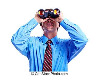 Executive businessman with a binocular.