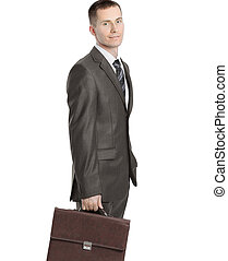 Executive businessman with a leather briefcase. isolated on white