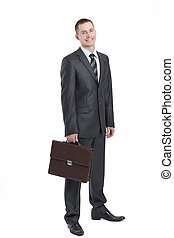 Executive businessman with a leather briefcase.isolated on white