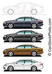 executive car - illustration of sedan.