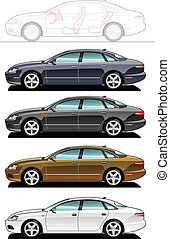 executive car - illustration of sedan. (Simple gradients...